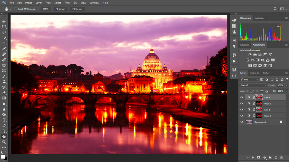 The adjustment layers are the same as above, but all the saturation masks have been switched off.