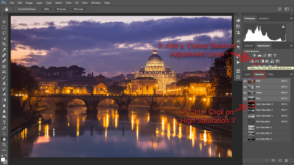 Load a High Saturation mask as a selection and add a 'Colour Balance' adjustment layer