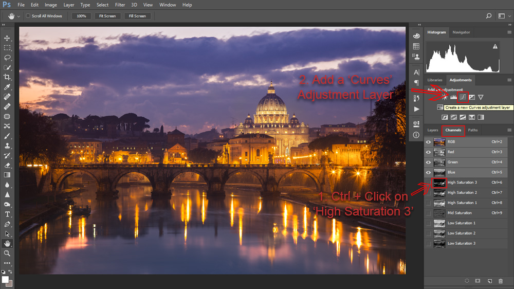 Adding a Curves adjustment layer using a High Saturation Mask