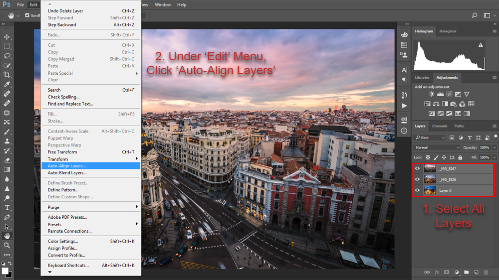 Load the layers you want to blend into the same workspace, then follow these instructions to auto-blend your layers.