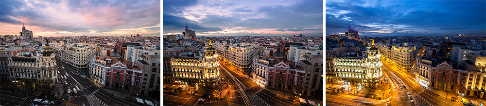Three photos of Madrid to be blended using 'Auto-Blend Layers'.
