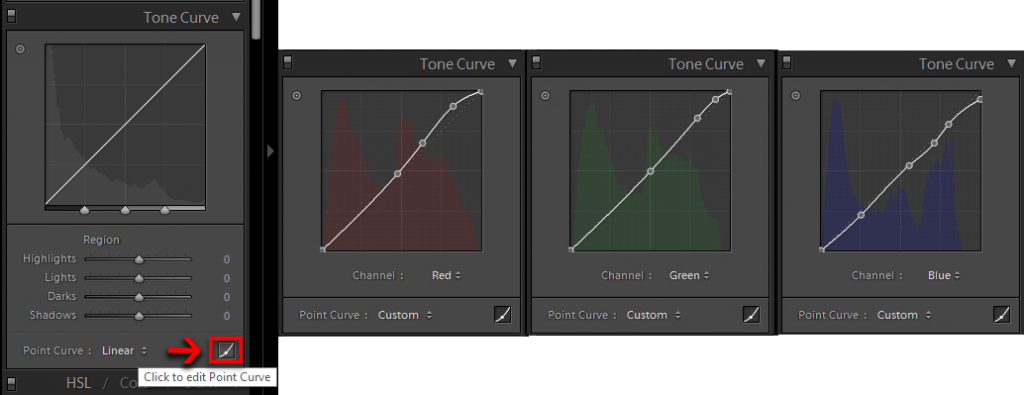 Editing the Point Curve to boost sunset colours in the brighter parts of the photo.