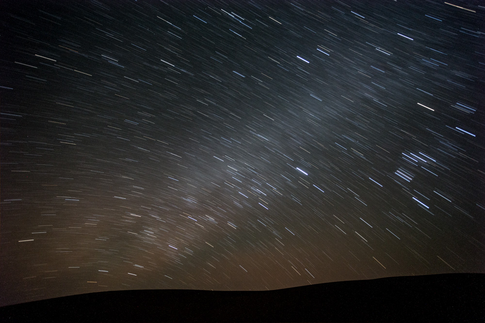 A long-exposure of stars taken in the Thar Desert, Jaisalmer, India.