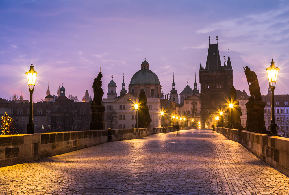 A long-exposure early morning in Prague