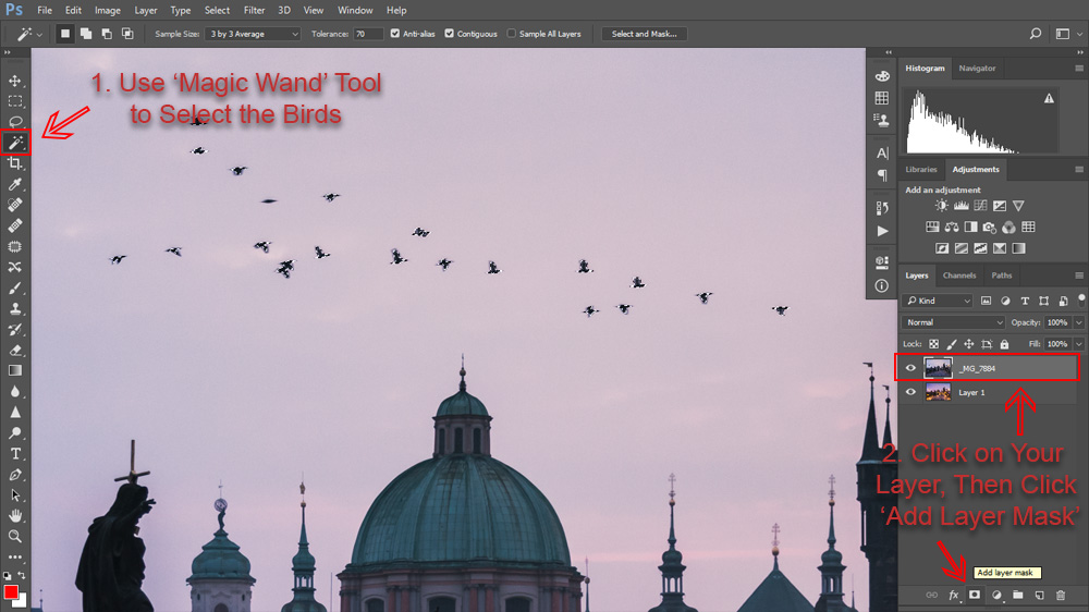 How to select and blend objects like birds.