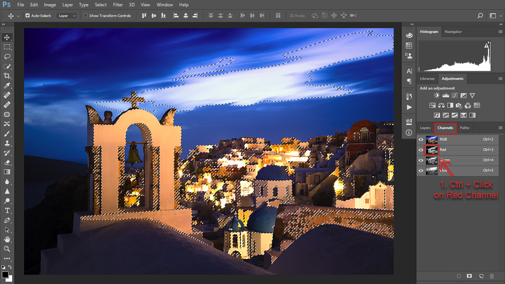 Make a luminosity selection of the red channel to select streetlights.