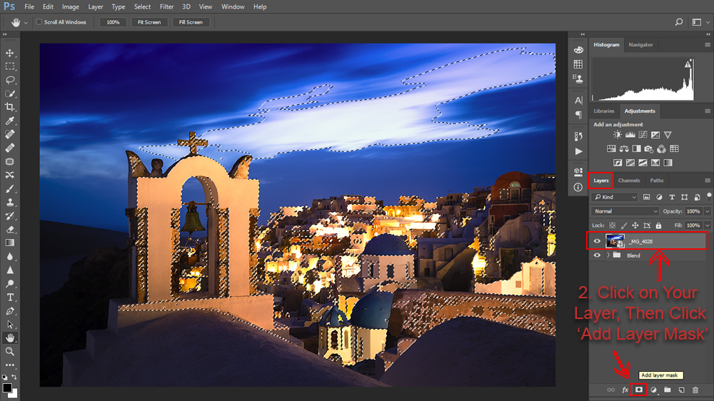 Add the luminosity mask as a layer mask to the blue hour exposure.