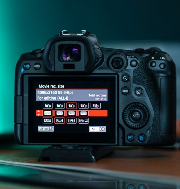 Movie recording modes on the Canon R5 for slow motion video recording