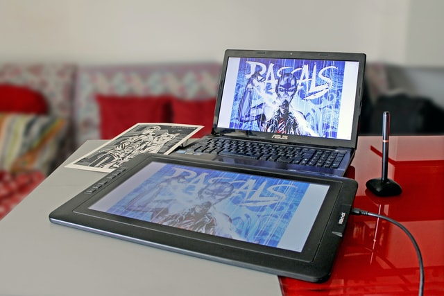 An XP-Pen drawing tablet with screen