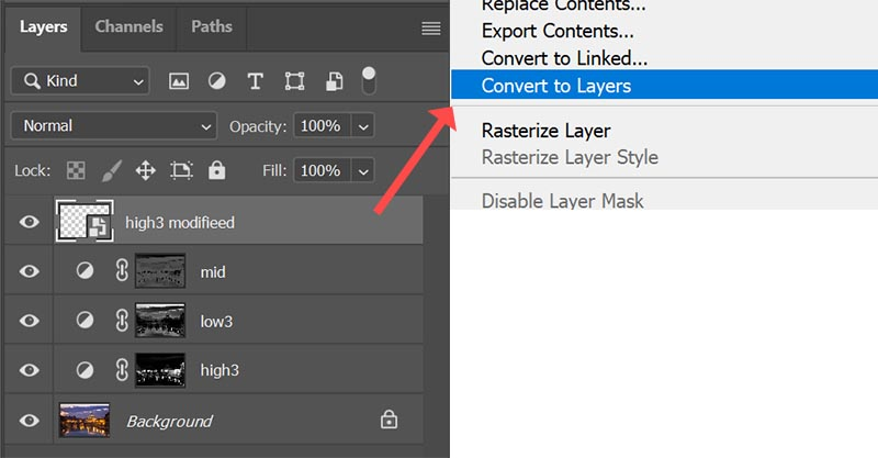 Convert to layers