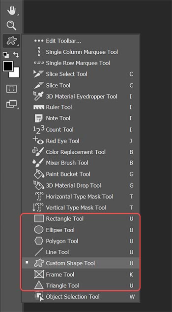 Custom shapes in Photoshop