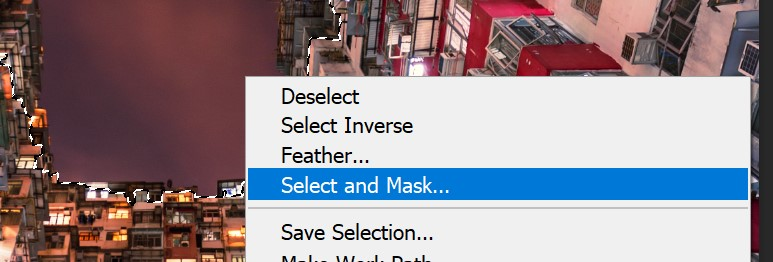 Photoshop right-click select and mask