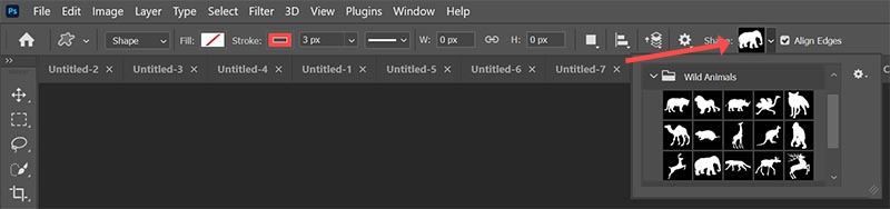 select a custom shape in photoshop