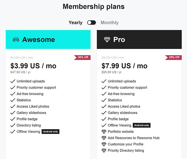 500px Pricing