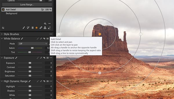 Capture One radial filter